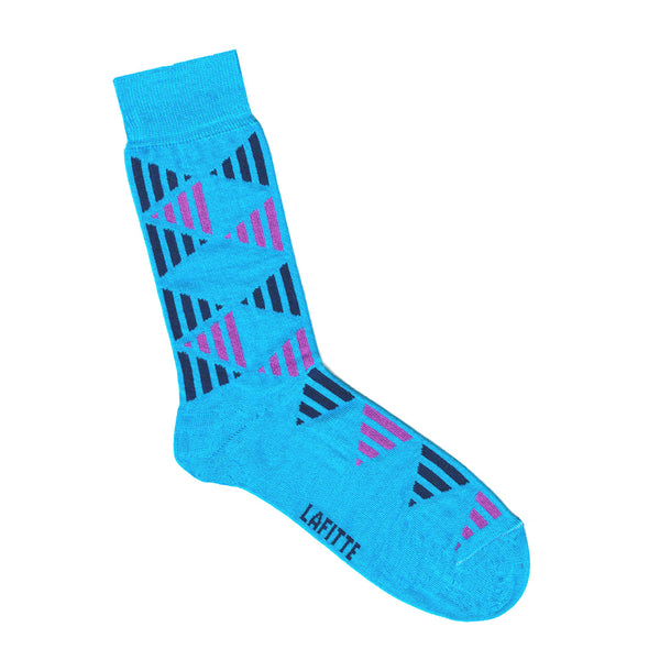 Blue Cotton Socks - Mens & Womens Socks with Triangle Print | Shop Online | LAFITTE Australia