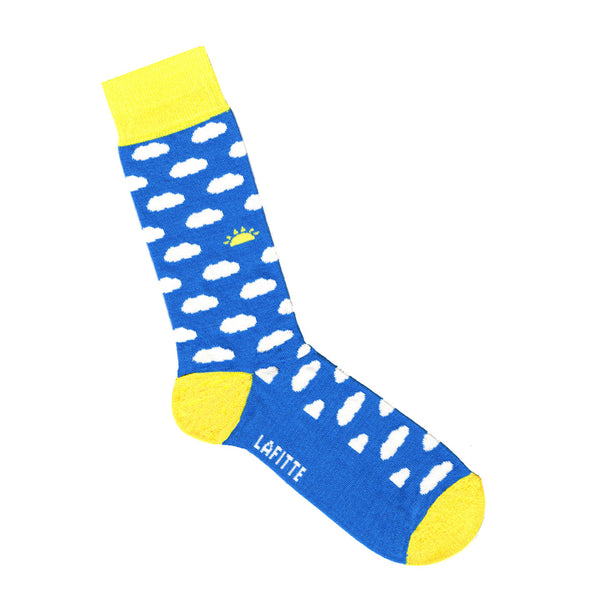 Blue socks with white clouds | Shop Online LAFITTE Australia