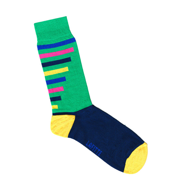 Green, Blue, Pink, Yellow and Black Striped Sock | Mens and Womens Socks | Shop Online | LAFITTE Australia
