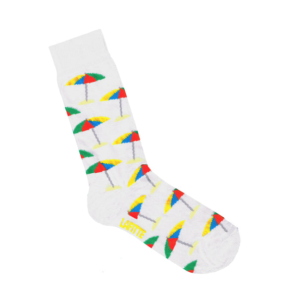 White Socks with beach umbrella print | Shop Online | LAFITTE Australia