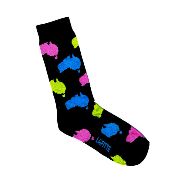 Map of Australia Print Socks | Black with Pink, Yellow and Blue | LAFITTE Australia