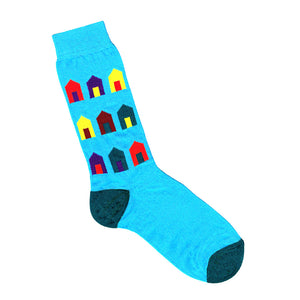 Beach Hut Print Socks | Blue | Made in Australia Shop Online LAFITTE Australia