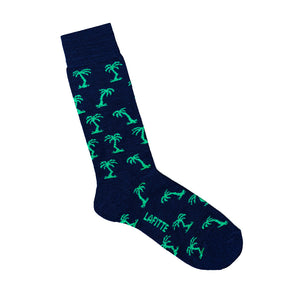 Palm Tree Patterned Bamboo Sock - Blue with green palm trees - LAFITTE Australia Shop Online