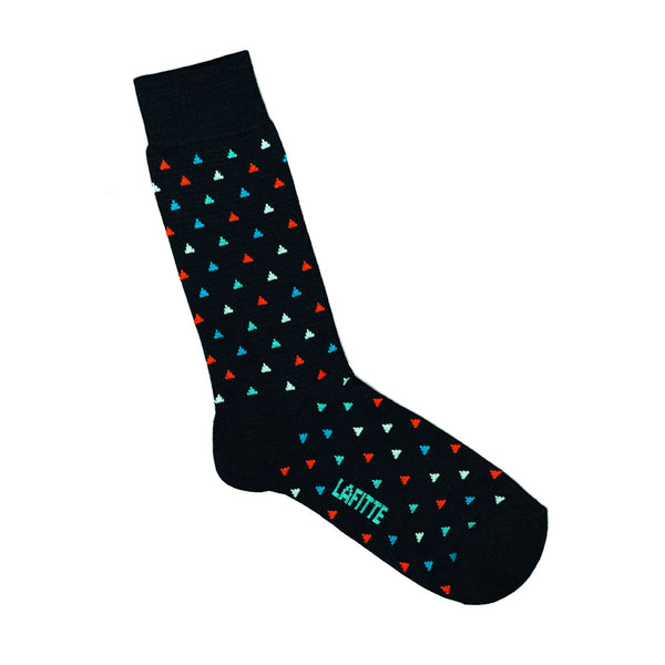 Black Bamboo Socks with Triangle Print | LAFITTE Australia - Shop Online