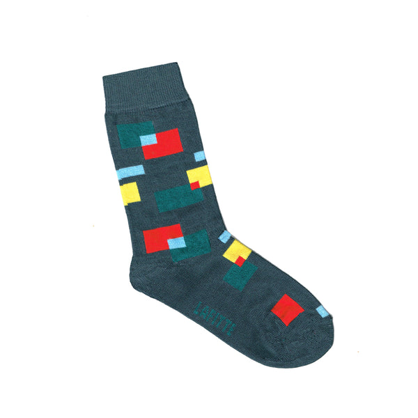 Grey Patterned Kids Socks with Block Shapes | Shop Online | LAFITTE Australia