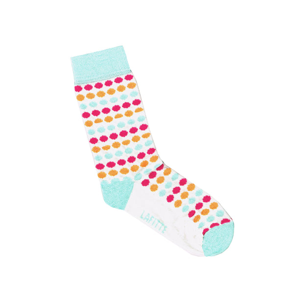 Small Spot Kids Socks | White with Red Orange and Blue Spots | LAFITTE Australia | Shop Online