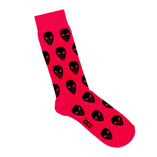 Hot Pink Socks with Alien Pattern | Shop Patterned Socks online LAFITTE Australia