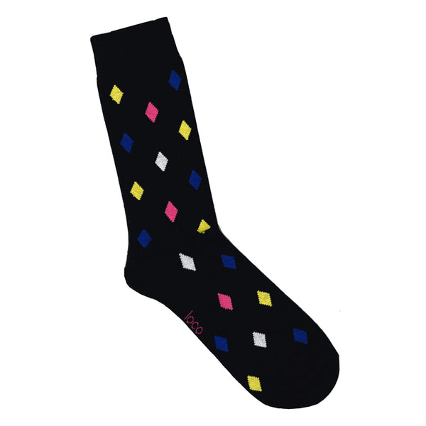 Black socks with diamond pattern | Shop Online LAFITTE Australia