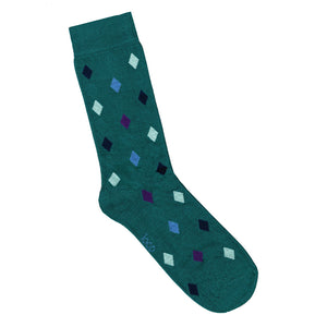 Green diamond patterned socks | Mens and womens socks online | LAFITTE Australia