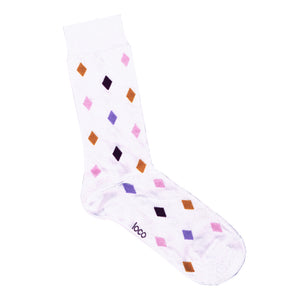 White Loco Socks with Diamond Pattern | Shop Online LAFITTE Australia