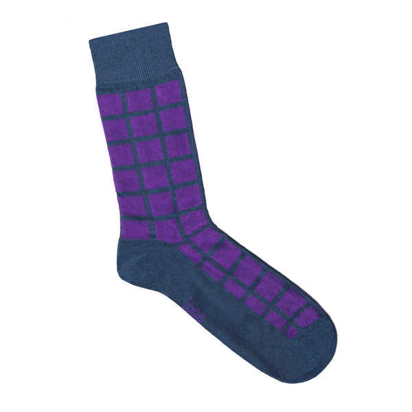 Purple and Blue Grid Socks | Shop Online | LAFITTE Australia