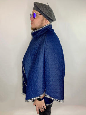 Quilted Denim Poncho Jacket • Size L/XL