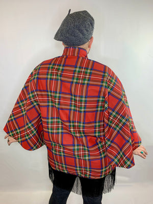Fringe Plaid Canvas Poncho Jacket • Size L/XL