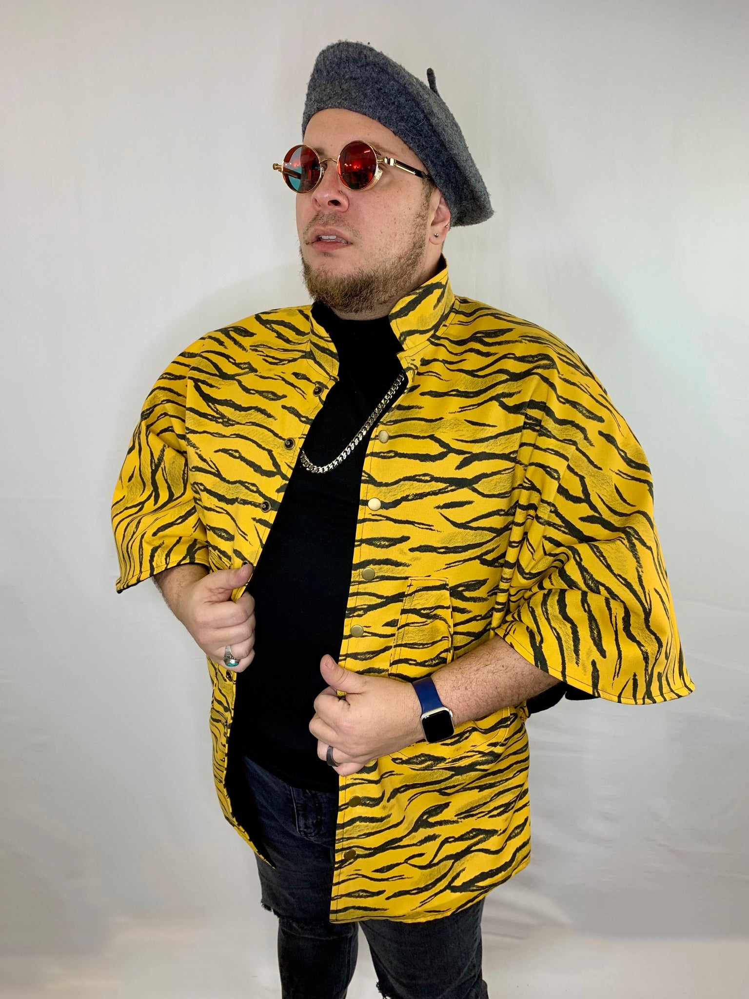 Yellow Tiger Print Canvas Poncho Jacket • Size S/M
