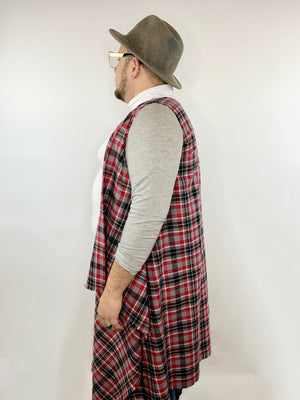 Red, black, and grey plaid flannel open front cardigan • Size M/L