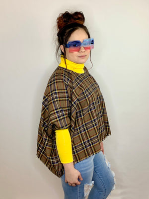 Flannel Plaid Sleeved Poncho Shirt • Size S