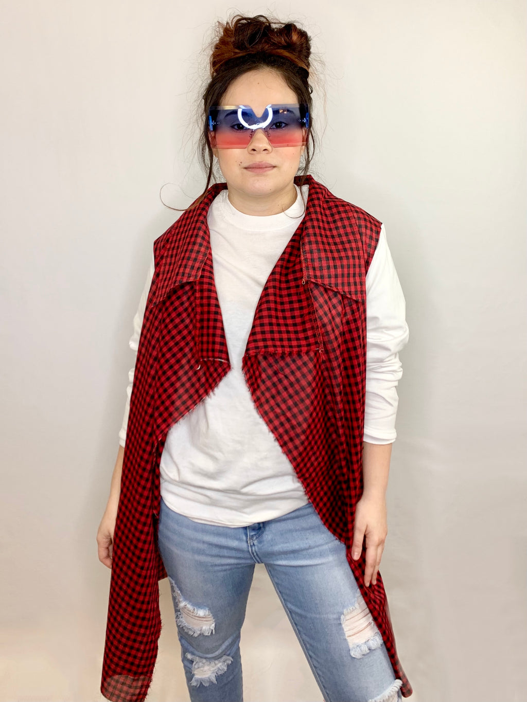 Buffalo Plaid Open Front Cardigan • Size S/M