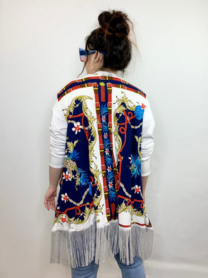 Baroque Open Front Cardigan with Fringe • Size S/M