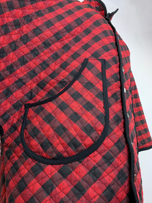 Quilted Plaid Poncho Jacket • Size L/XL
