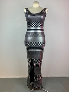 Black and silver sleeveless gown