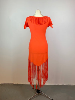 Off-the-shoulder fringe dress • Size M