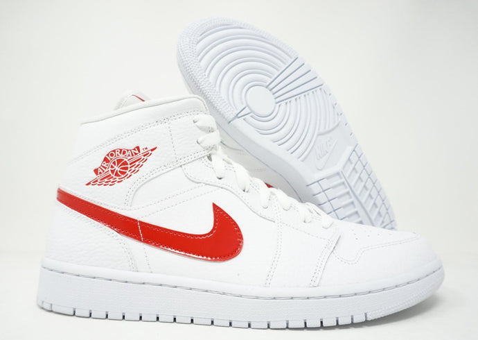 Air Jordan 1 Mid Womens Shoes White University Red BQ6472-106