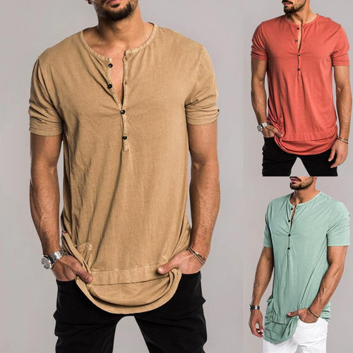 Solid Color Men's Pocket Stitching Short Sleeve Single-Breasted Placket T-Shirt