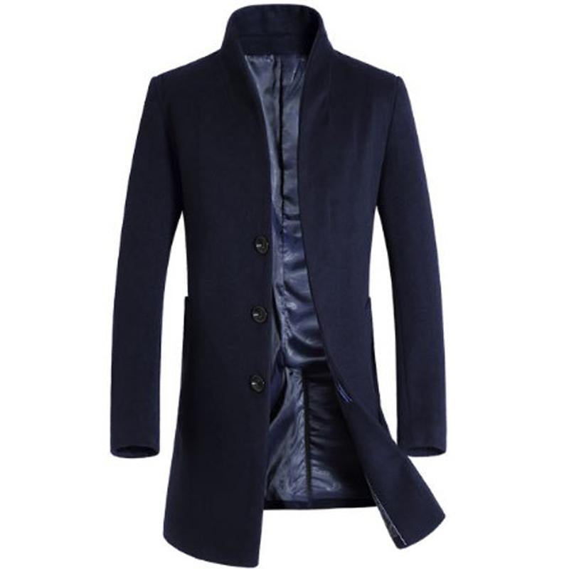 Man Long Trench Coat Wool Coat