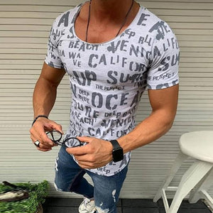 Men's Round Collar Short Sleeve Letter Printed T-Shirt