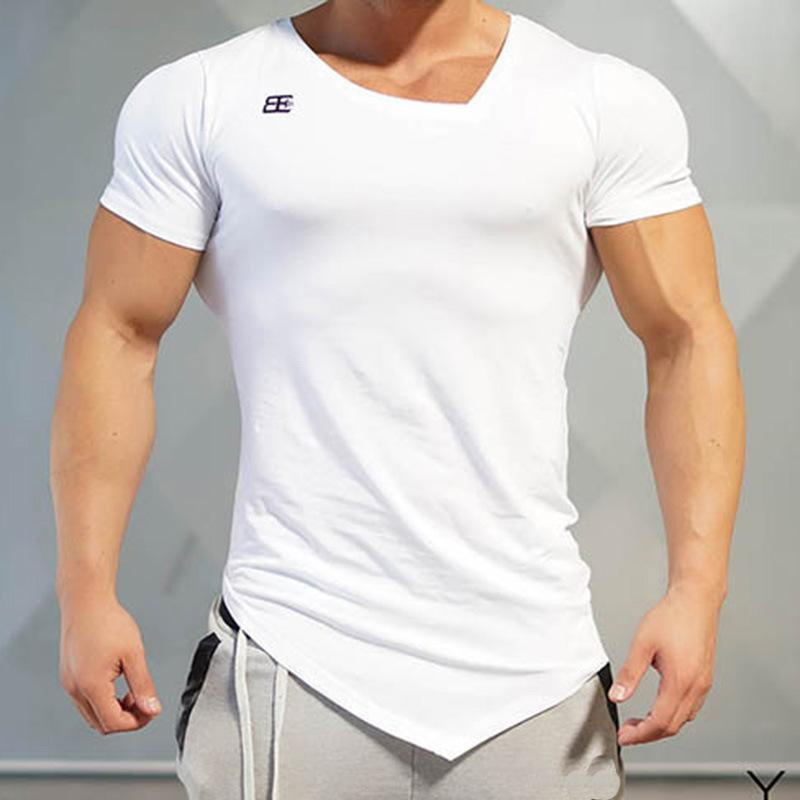 Quick Drying Personality Hem Slim  Basic T-Shirt