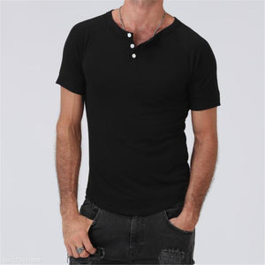 Fashion Youth Casual Plain V Button Collar Short Sleeve Top