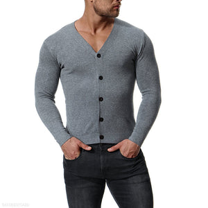 Slim-Fit Solid Color V-Neck Sweater 6 Colors