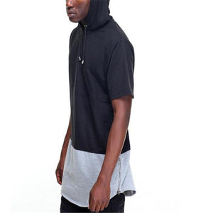 Fashion Casual Sport Loose Color Block Short Sleeve Hoodie