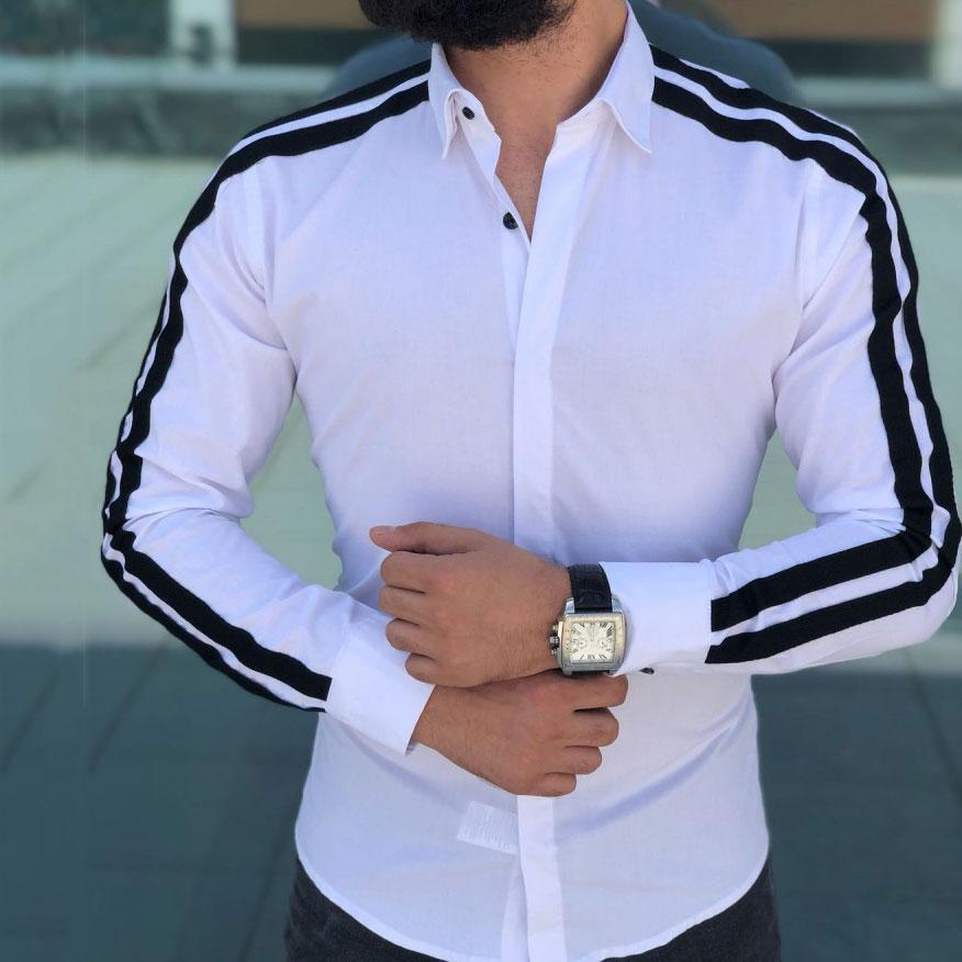 Fashion Lapel Collar Long Stripe Sleeve Shirt