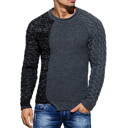 Mens Stitching Irregular Hem Sweater