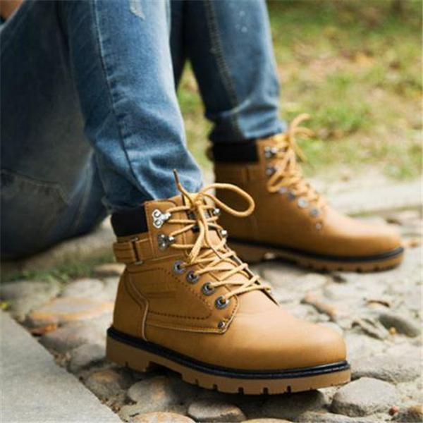 Casual Fashion Outdoor Solid Color High Tube Leather Men Boot Shoes