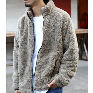 Mens Casual Winter Plain Zipper Thick Coat