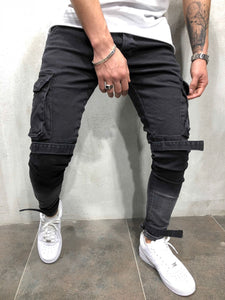 Fashion Slim Plain Packets Jeans Pants