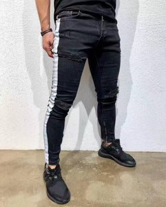 Tight-Fashioned Solid Color Denim Trend Men's Feet Pants