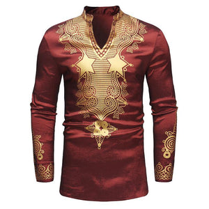 Man's Lapel African Elemental Printed V Collar Top