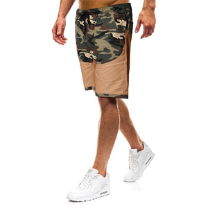 Men's Fashion Camouflage Stitching Tether Belt Pocket Shorts