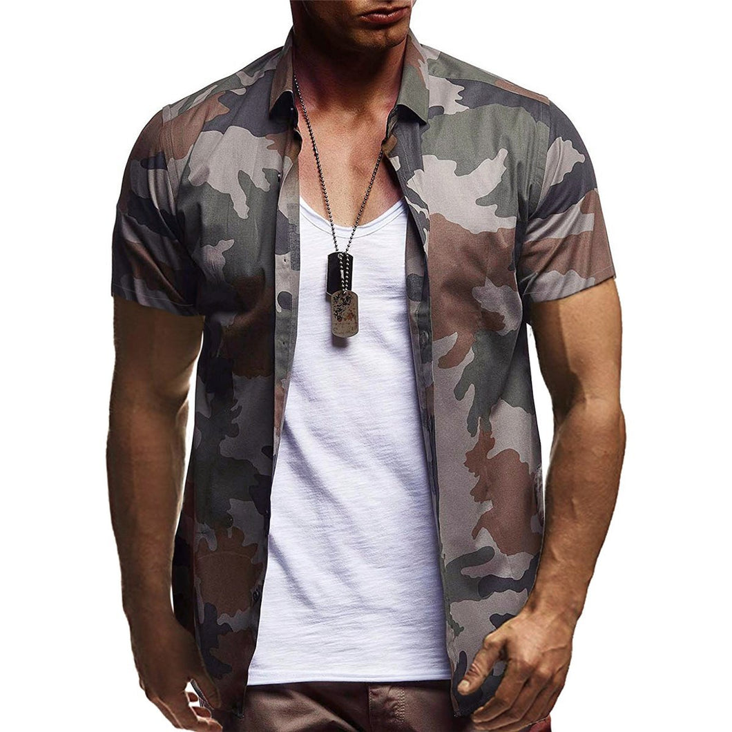 2019 Summer Men's Casual Camouflage Printed Casual Short-Sleeved Shirt