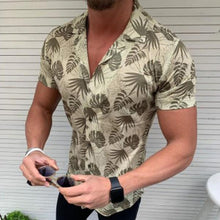 Load image into Gallery viewer, Men's Short Sleeve Coconut Leaf Printed Shirt