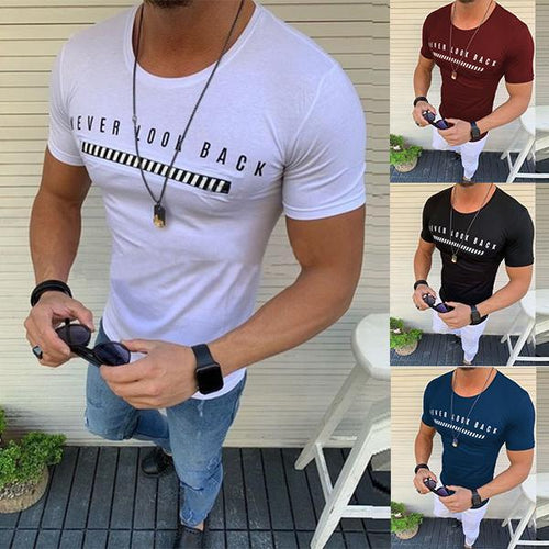 Men's Fashion Solid Color Slim Printed T-Shirt