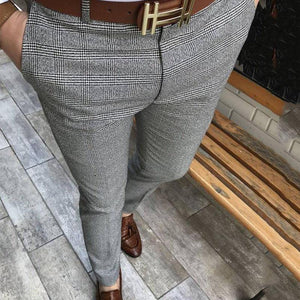 Cut Slim Fit Men's Plaid Casual Trousers Pants
