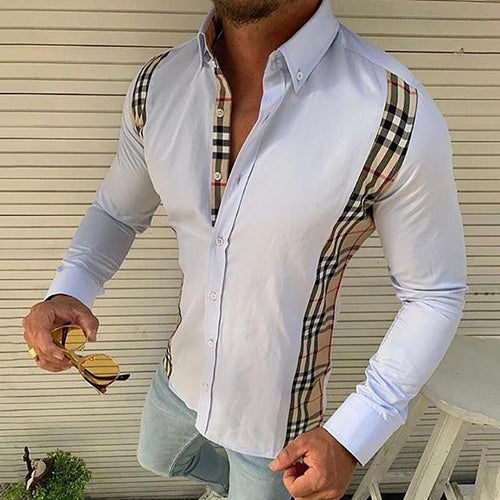 Commuting Splicing Lattice Slim Fit Shirt