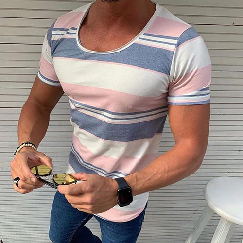 Casual Contrast Color Round Neck Slim Fit Tee