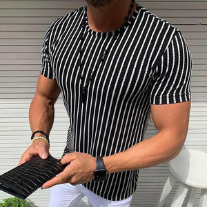 Casual Round Neck Slim Fit Stripe Tee