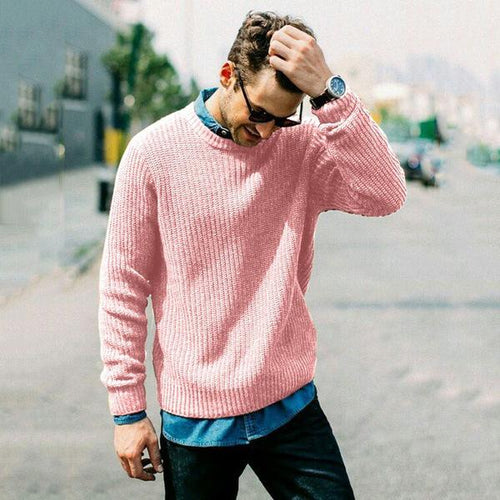 Casual Pure Colour Round Neck Sweater