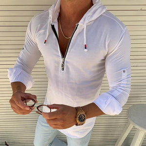Men's Casual Long Sleeve Slim Hooded Shirt